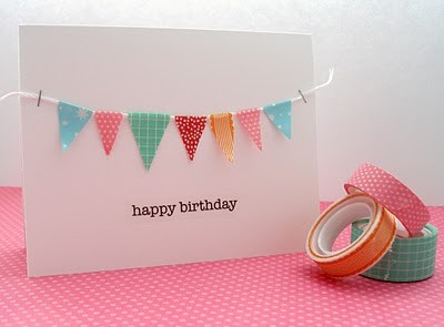 Cute washi tape decorated card with tiny washi pennants.