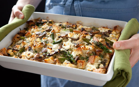 Portobello strata, with mushrooms, eggs, onion, cheddar cheese, goat cheese and more!
