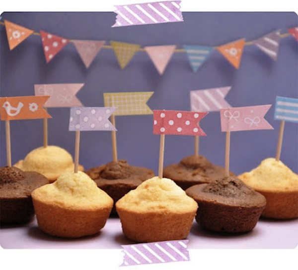 Washi tape cupcake flags and tiny pennants for party fun.