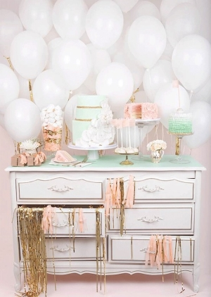 Shabby chic balloon backdrop for a baby shower or party