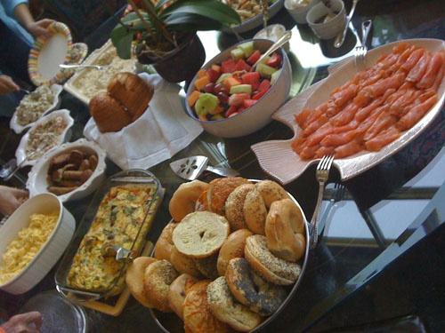 Brunch food display