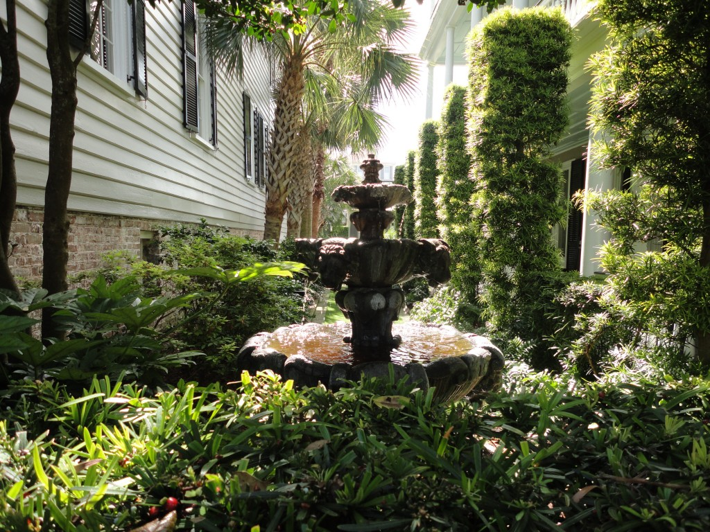Fountain nestled in a quiet courtyard in Charleston