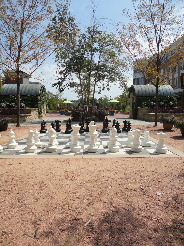 Giant oversized chessboard for you to actually play in the park