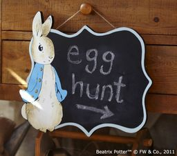 Peter Rabbit Chalkboard plaque to announce the party