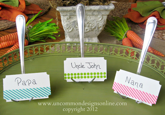 Using washi tape to decorate place cards