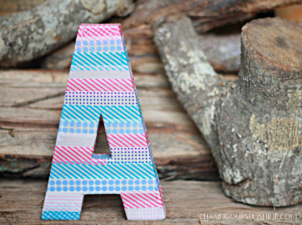 Cover a letter with washi tape for a great accent in a kid's room or on a bookshelf