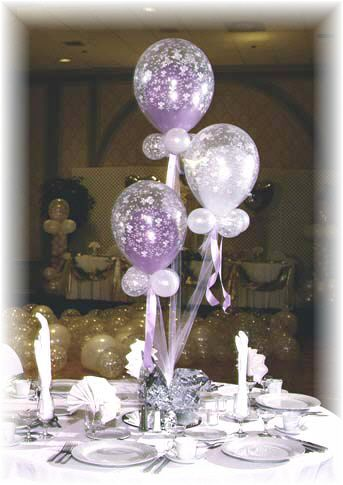 Lavender, clear and white balloon centerpieces you can make for yourself