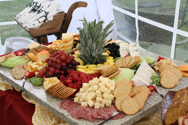 Fruit, cheese and cracker display for a Sunday Brunch