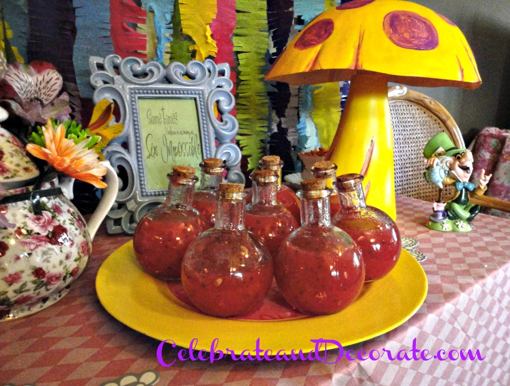 Watermelon soup was served as Jabberwocky Juice at this Alice in Wonderland Party