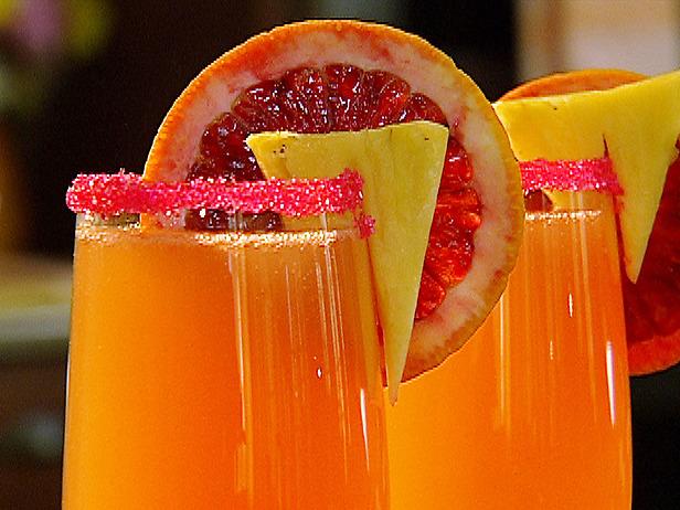 Mimosas with festive garnish