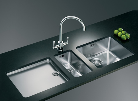 Designer Stainless Steel Sinks : Modern stainless steel kitchen sink with a stainless drainboard with ...