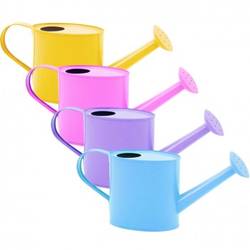 Pastel colored watering cans to be used for party decorations.