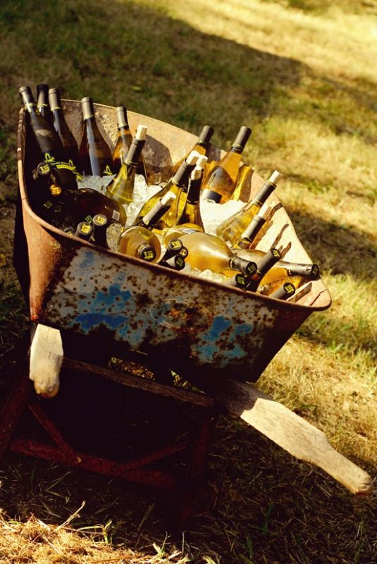 Wheelbarrow filled with ice and beverages