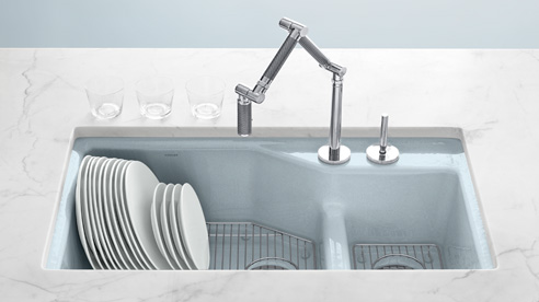 modern kitchen sink by kohler in enameled cast iron with pale blue color and modern faucet. Interior Design Ideas. Home Design Ideas