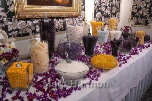 purple, black, yellow and white candy buffet