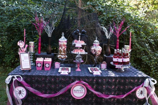 Pink and black glam Halloween candy buffet