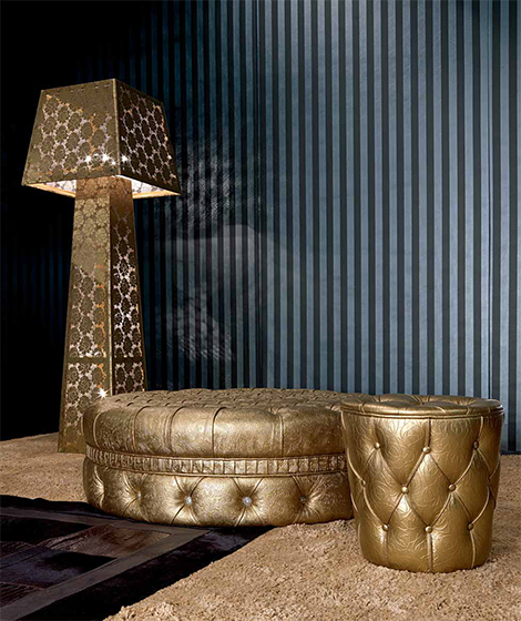 Gold pour and floor lamp