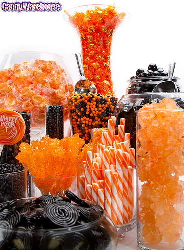 Orange and black candy buffet, orange and black, black and orange, orange and white, candy buffet, candy bar