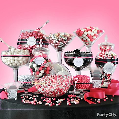 Pink and black candy buffet for a glam Halloween Party