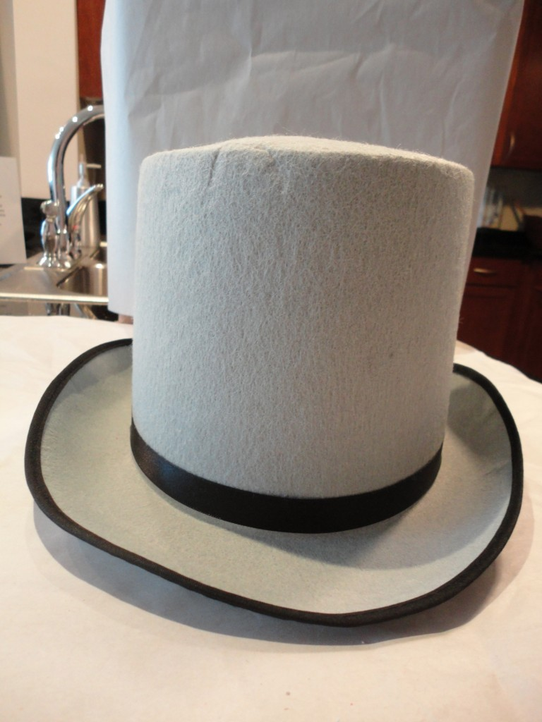 Gray inexpensive costume top hat from Party City