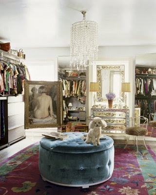 Glamourous closet with pouf and french poodle and chandelier