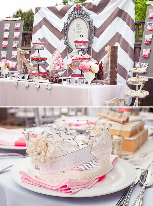Chevron bridal shower with vintage accents