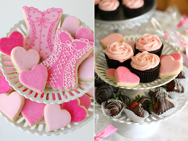 Linens and Lingerie bridal or wedding shower desserts, corset shaped cookies