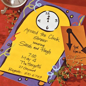 around the clock bridal or wedding shower where each guests brings a gift to be used