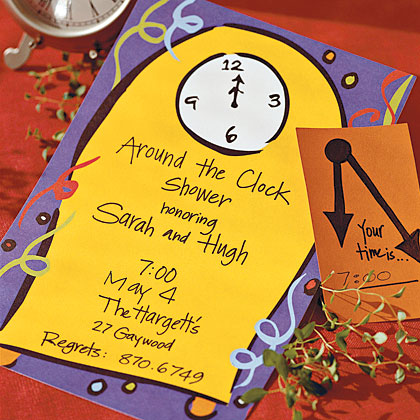 Around the clock bridal or wedding shower where each guests brings a gift to be used during a specific hour of the day