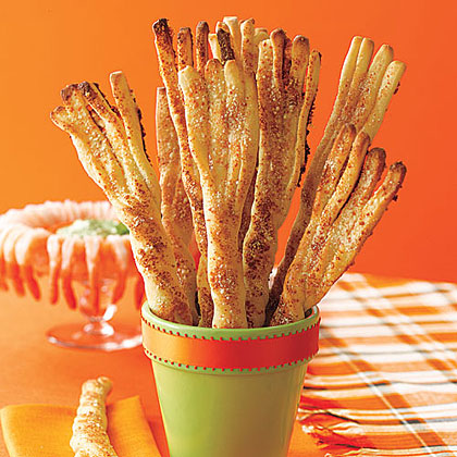 Breadstick broomsticks for Halloween party food