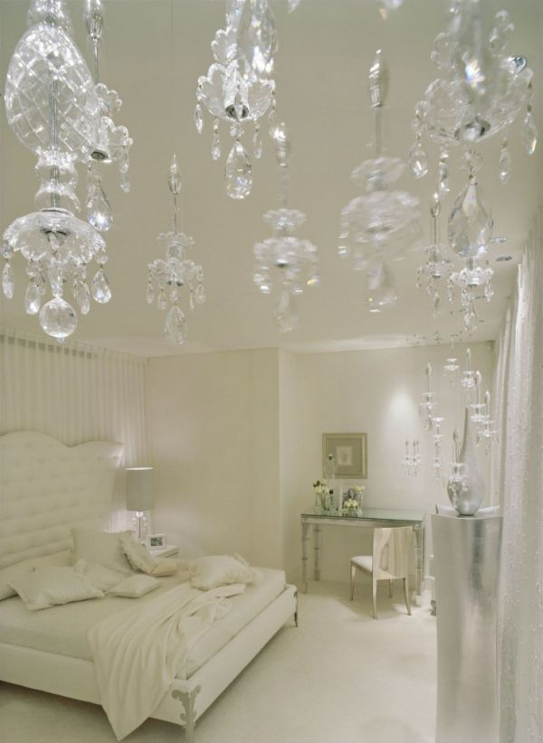 Elegant and fanciful all white bedroom