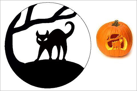 Cat pumpkin template or stencil