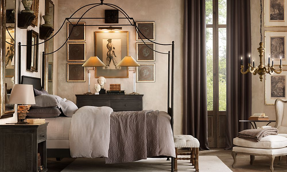 Metal campaign canopy bed from Restoration Hardware