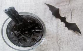 Bat juice Mocktail all black and scary for kids and adults alike for a fun Halloween Party beverage