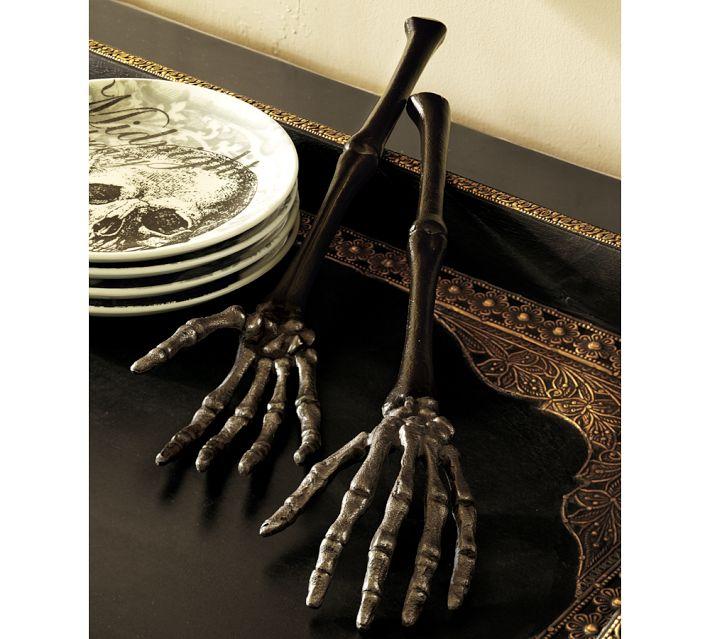 Skeleton hand serving set