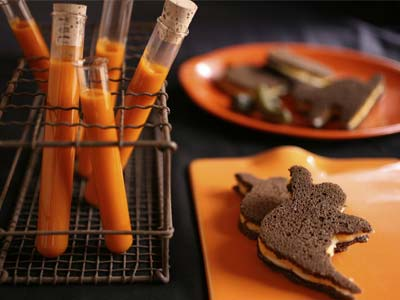Carrot soup served in test tubes and ghost sandwiches