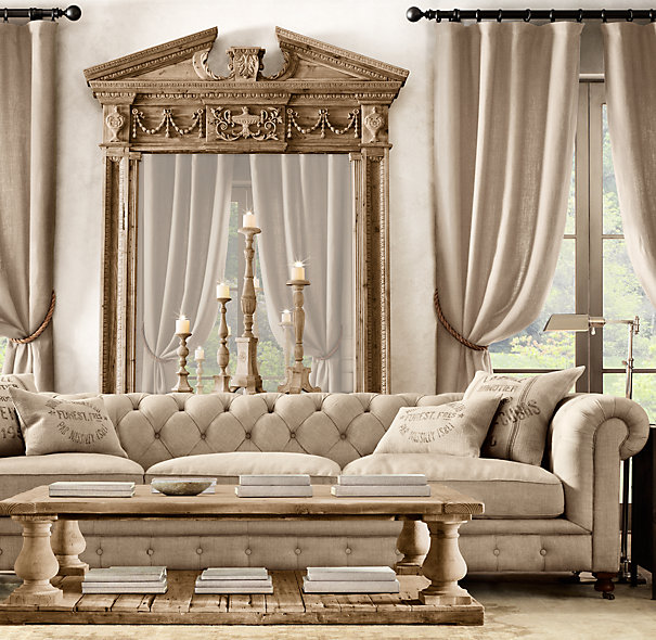 Restoration Hardware living room, neutral living room, vintage decor
