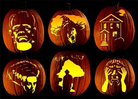 Pumpkin carvings using a template