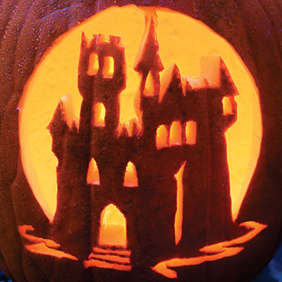 Spooky Castle carved pumpkin