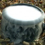 spooky smoking cauldron made with dry ice for Halloween drinks