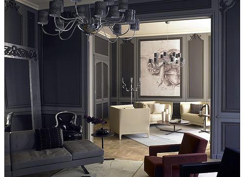 Gray interiors with gray walls