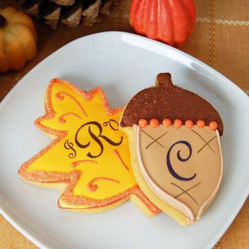 Autumn leaves cookies with monogram