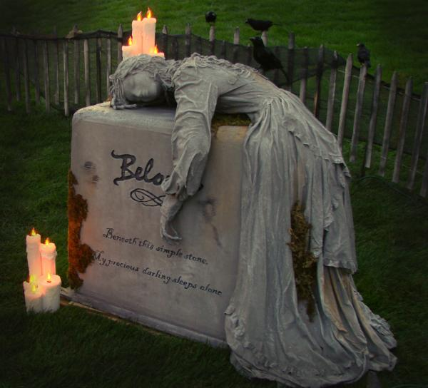 Spooky homemade tombstone for Halloween