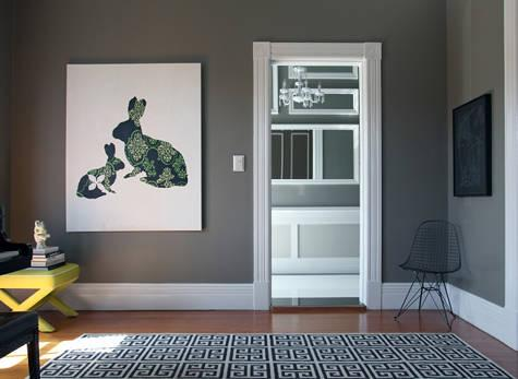 Gray walls with crisp white trim
