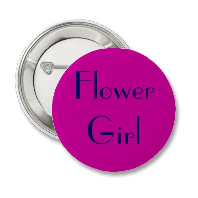Navy and Fuchsia Flower Girl Button