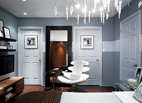 Gray interior with white stripe