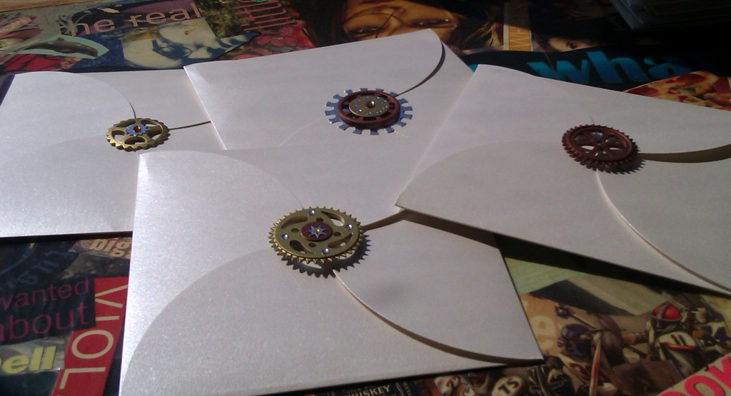 Steampunk invitations and envelopes