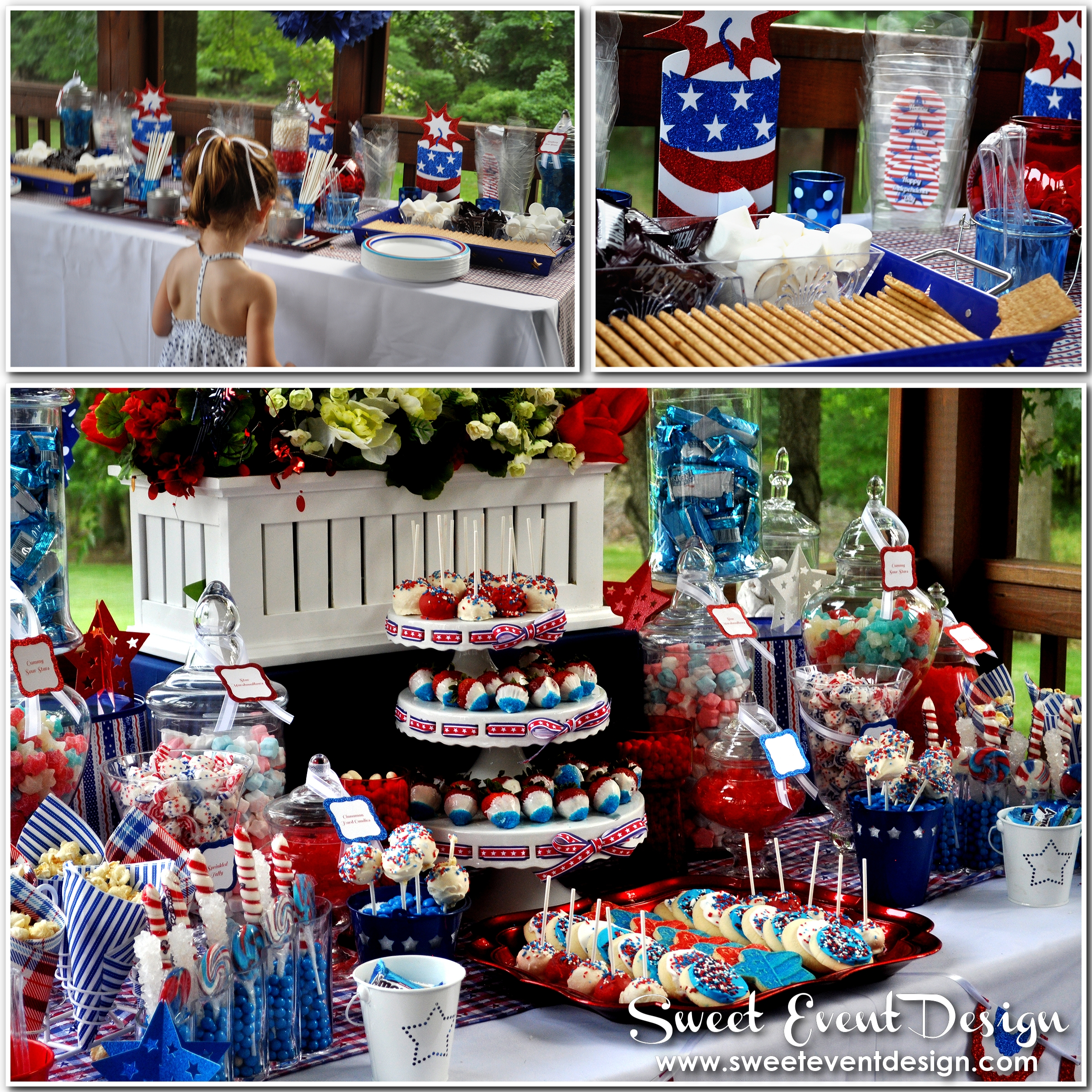 Election night red white and blue candy buffet