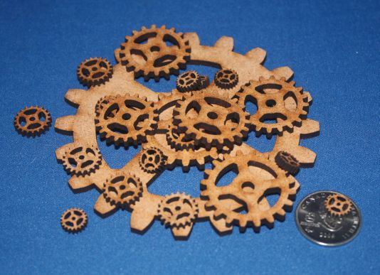 Laser cut wooden gears for steampunk decor