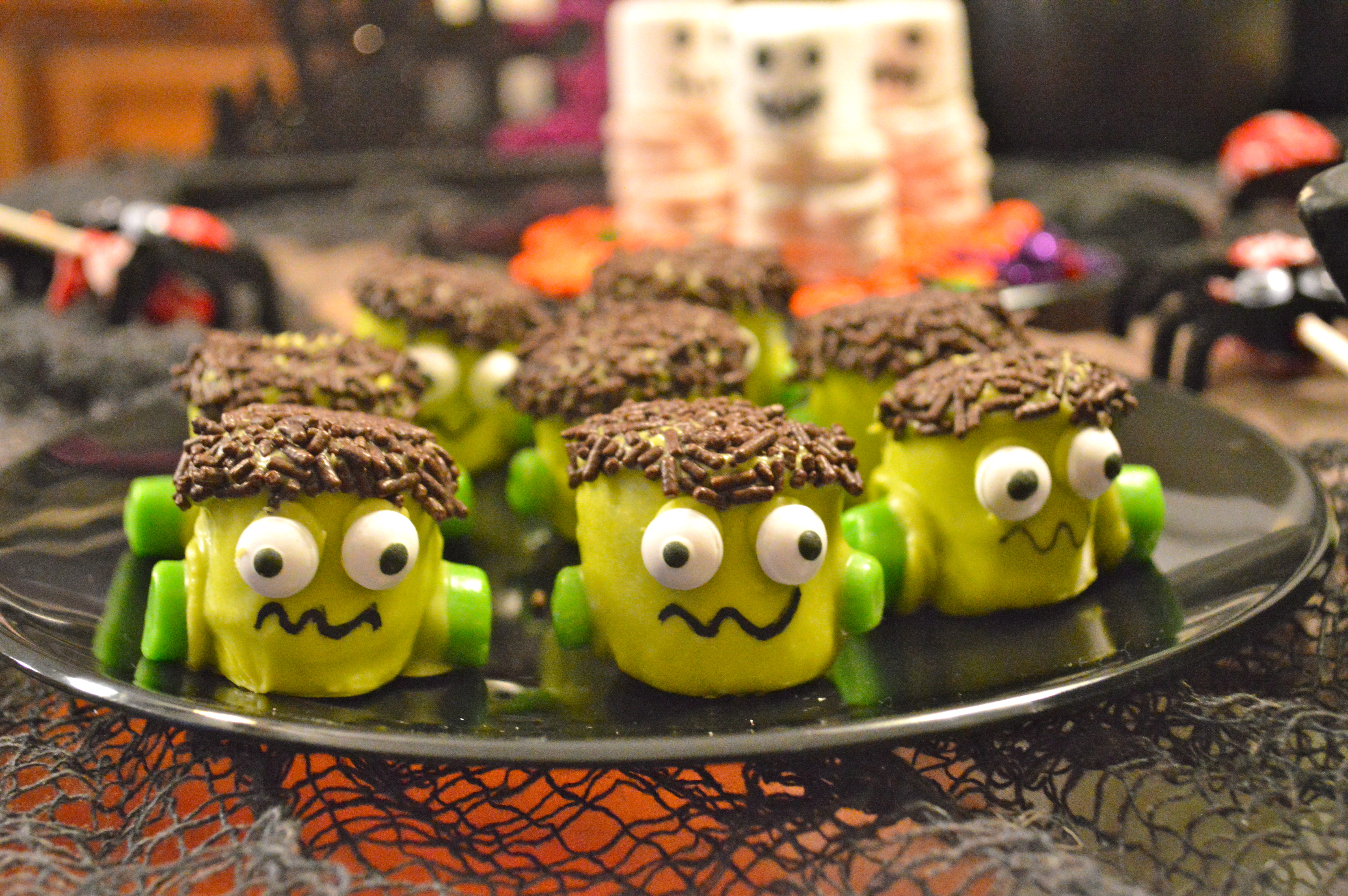 Frankenstein Marshmallow Treats for Halloween - Celebrate & Decorate